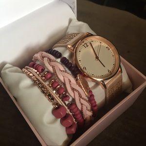 Rose gold Watch and Bracelets Francesca's